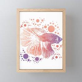 Betta Splendens Retro print I Siamese Fighting Fish Gift Framed Mini Art Print