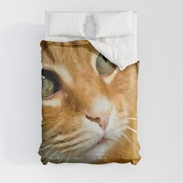 Adorable Ginger Tabby Cat Posing Comforters