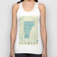 vermont Tank Tops featuring Vermont State Map Blue Vintage by City Art Posters