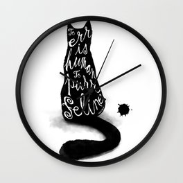 To err is human, to purr feline Wall Clock