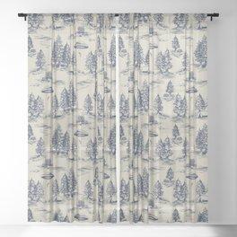 Alien Abduction Toile De Jouy Pattern in Blue Sheer Curtain