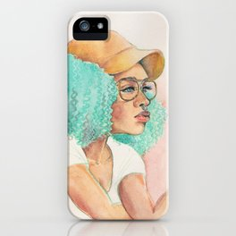 Minty Curls Don't Care iPhone Case