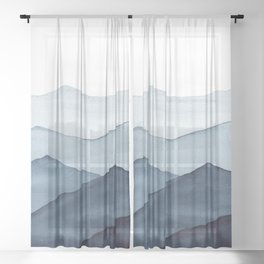 abstract watercolor mountains Sheer Curtain