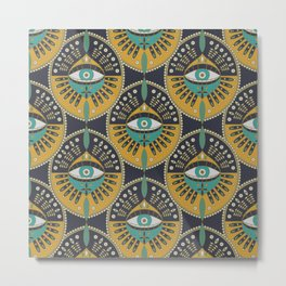 Tribal Evil Eye Pattern Metal Print