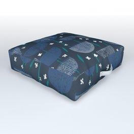 Botanical Block Print M+M Navy by Friztin Outdoor Floor Cushion