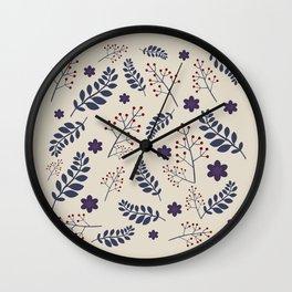 Dark plant pattern Wall Clock