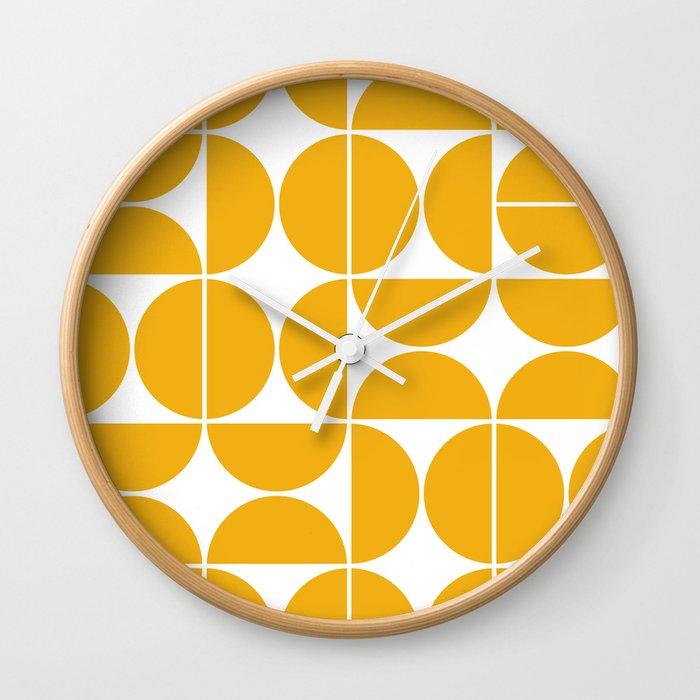 Mid Century Modern Geometric 04 Yellow Wall Clock