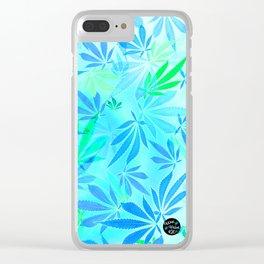 Blue Mint Cannabis Swirl Clear iPhone Case