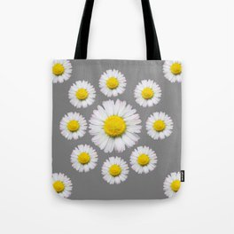 WHITE SHASTA DAISY FLOWERS  DECORATIVE GREY ART Tote Bag