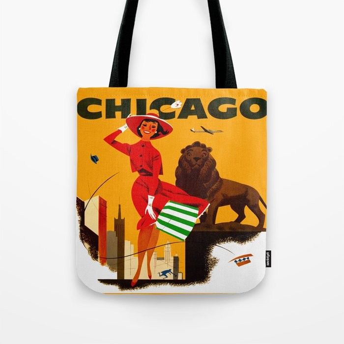 Vintage Chicago Illinois Travel Tote Bag