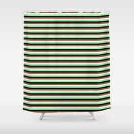 Sienna, Light Cyan, Light Green & Black Colored Lined Pattern Shower Curtain