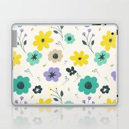 Modern ivory lime green teal violet floral illustration Laptop & iPad Skin