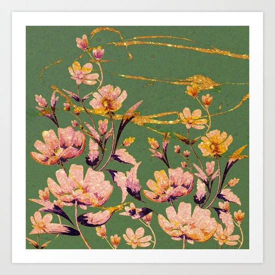 glittering pink flowers on green Art Print