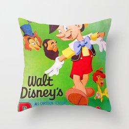 1962 Vintage Pinocchio Movie Poster Throw Pillow