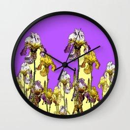MODERN ART  LILAC-YELLOW IRIS GARDEN Wall Clock