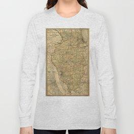 Vintage Illinois Railroad Map (1897) Long Sleeve T-shirt