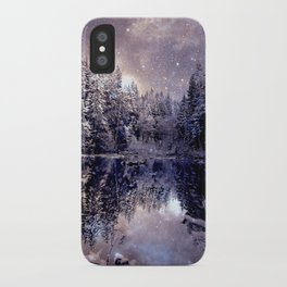A Cold Winter's Night Neutral Beige Navy Blue iPhone Case