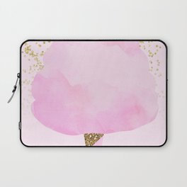 Pink & Gold Glitter Cotton Candy Laptop Sleeve