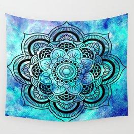 Galaxy Mandala Aqua Indigo Wall Tapestry