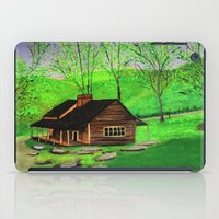 cabin iPad Cases featuring Hillside cabin by maggs326