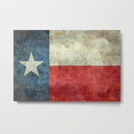 Texas flag, Retro distressed texture Metal Print