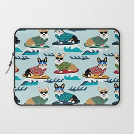 corgi surfing dog pattern corgis Laptop Sleeve