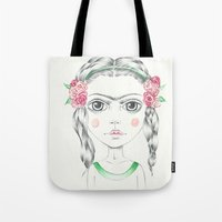 frida kahlo Tote Bags featuring frida kahlo by Lisa Bulpin