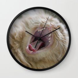 Ginger Cat With Long Whiskers Yawning Wall Clock
