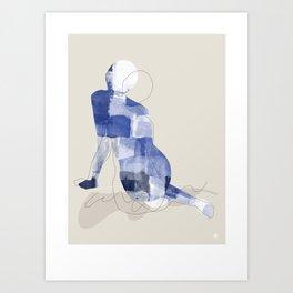 Naked Blue Model Art Print