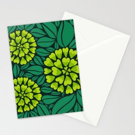 Spring Green Floral pattern Stationery Cards