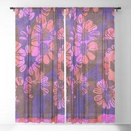 flower disco Sheer Curtain