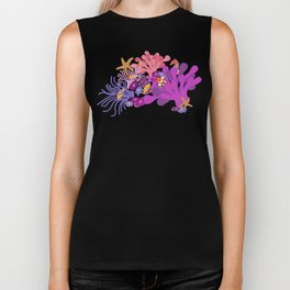 Block Party on the Reef - Clownfish Anemone Marine Sea Life Coral Biker Tank