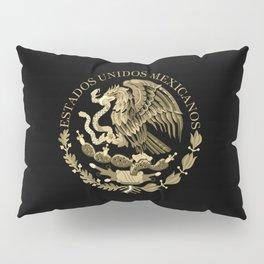 Mexican flag seal in sepia tones on black bg Pillow Sham