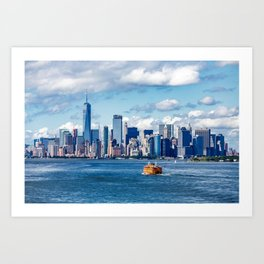 New York City with Ferries and Planes Art Print