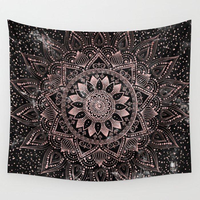 Elegant Rose Gold Mandala Dots And Marble Artwork Wall Tapestry