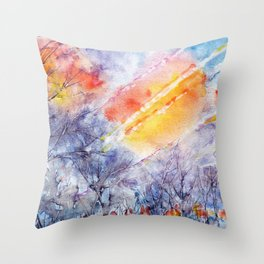 Sunrise in early spring abstract watercolor background Throw Pillow