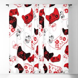 Video Game White and Red Blackout Curtain