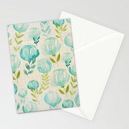 Vintage Aqua Blossoms Stationery Cards