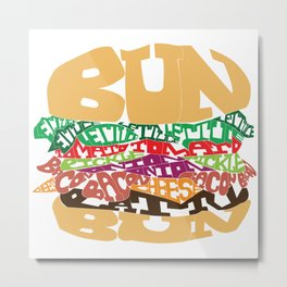 Word Drawing Burger Metal Print