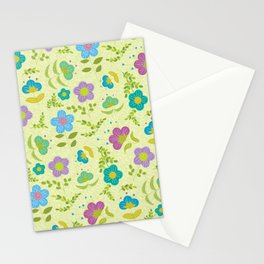 Round Blue Purple Mint Flowers On Soft Green Leaves (pattern) Stationery Cards