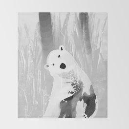 Unique Black and White Polar Bear Design Throw Blanket
