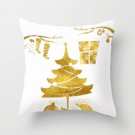 Gold Christmas 03 Throw Pillow