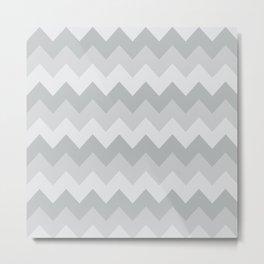 Gray Chevron Stripe Pattern Metal Print