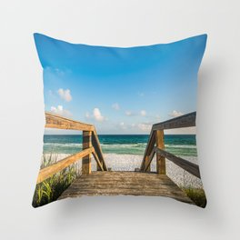 Head to the Beach - Boardwalk Leads to Summer Fun in Florida Throw Pillow