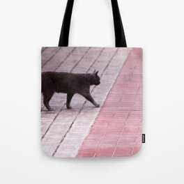 Cat Walking  6589 Tote Bag