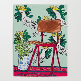 School Chair and Mint Cockatoo Wallpaper Poster