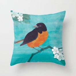 Oriole Bird on Teal Throw Pillow