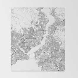 Istanbul White Map Throw Blanket