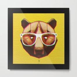 3D GEEKY GRIZZLY BEAR Metal Print