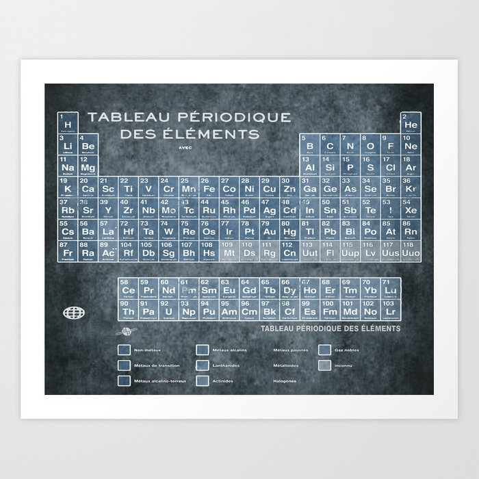 Tableau periodiques periodic table of the elements vintage chart tableau periodiques periodic table of the elements vintage chart blue art print urtaz Image collections